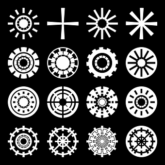 Icone, Gear, Wheels, Coat Hanger, Asterisk, Cruz