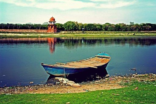 Vivid, Jamuna, Rive, Boat, Water, India, Yamuna, Agra