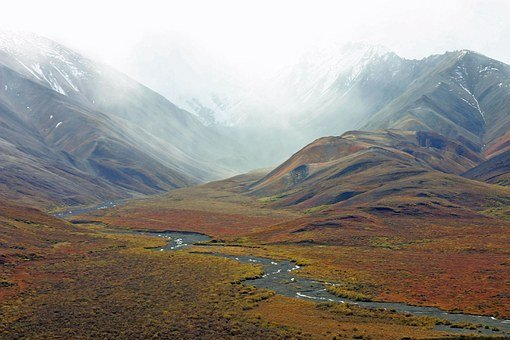 Alaska, Mountains, Tundra, Stream, Wilderness