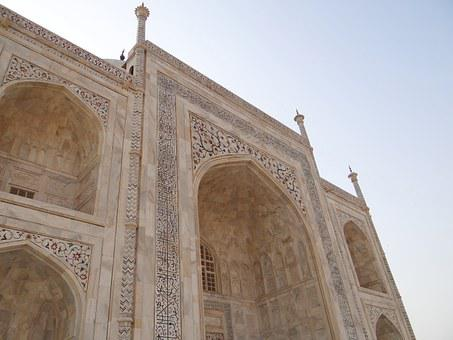 Taj Mahal, Cross-section, Arches, White Marble