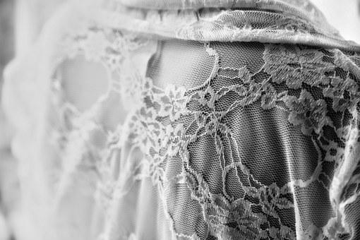 Lace, Wedding Dress, Detail, Black And White, Dress