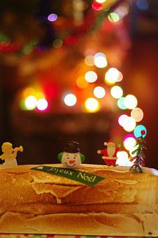 Christmas, Cake, Bokeh, Figurines, Santa, Decorated
