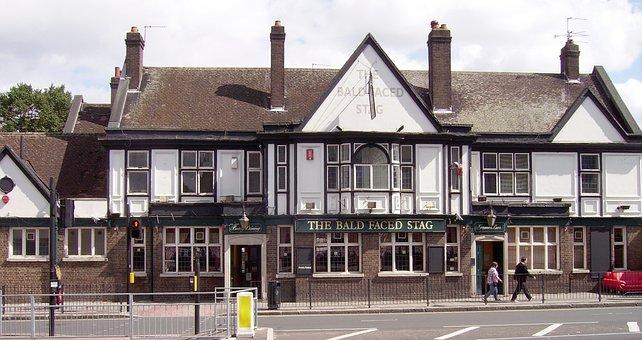 Pub, Burnt Oak, Bald Faced Stag, House, Building, Front