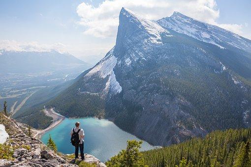 Canadian Rockies, Hiker, Lake, Landscape, Man, Nature