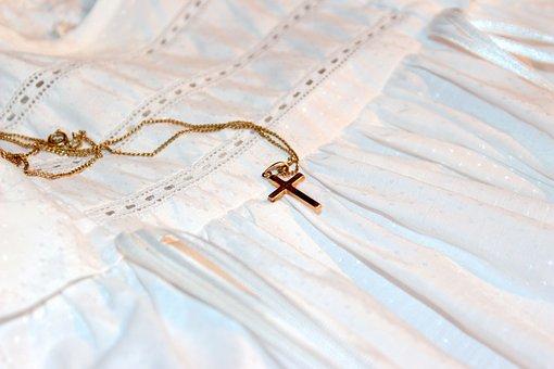 Cross, Gold Cross, Chain, Baptism Bracelet, Symbol