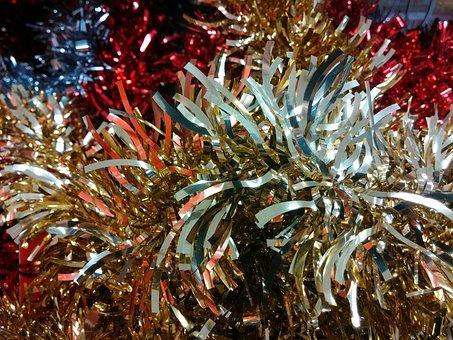 Tinsel, Christmas, Decorations, Festive, Glittery, Xmas