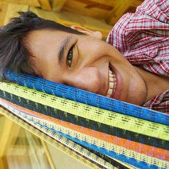 Happy, Half Face, Smiling, Eyes, Man, Hammock, Colors
