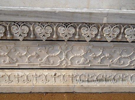 Taj Mahal, Base, Relief Work, Floral Relief
