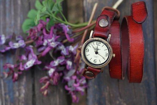 Vintage, Red, Watch, Watches, Purple, Flowers, Wooden