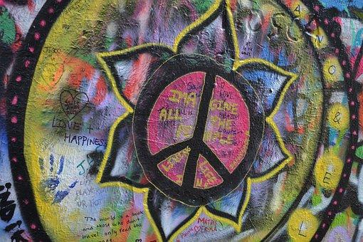 Lennon Wall, Prague, Graffiti, Love, Spray, Symbol