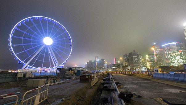 Ferris Wheel, Hong Kong, Hk, Hongkong, Night View