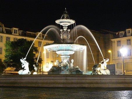 Lisbon, Night Photograph, Old Town, Fountain, Night