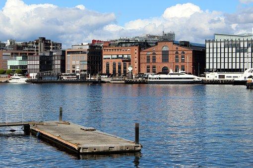 Oslo, Norway, Port, Oslofjord, City, Building