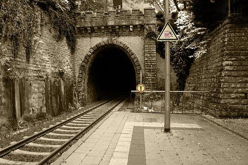 Railway Station, Train, Tunnel, Railway, Railway Tracks