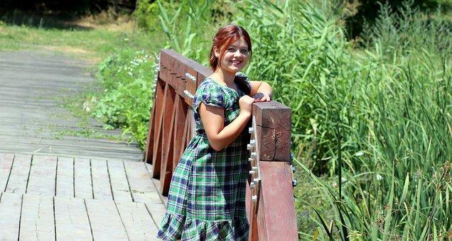 Girl, Bridge, Green, Nature, Beauty, Red Hair