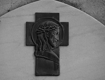 Christ, Black And White, Sculpture, Characters, Bronze