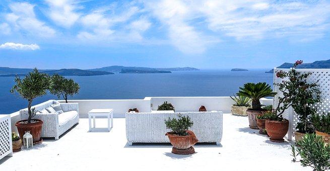 Greece, Sea, Sea View, Terrace, Santorini, South, Sun