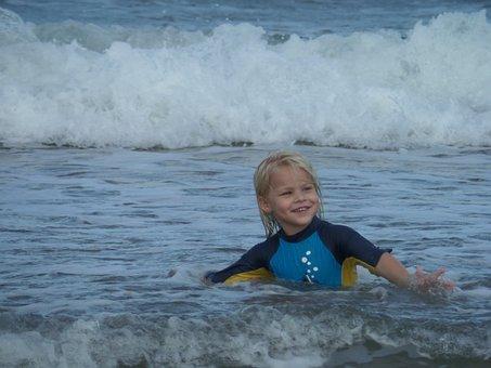 Ocean, Playing, Son, Little Boy, Beach, Fun, Sea, Happy