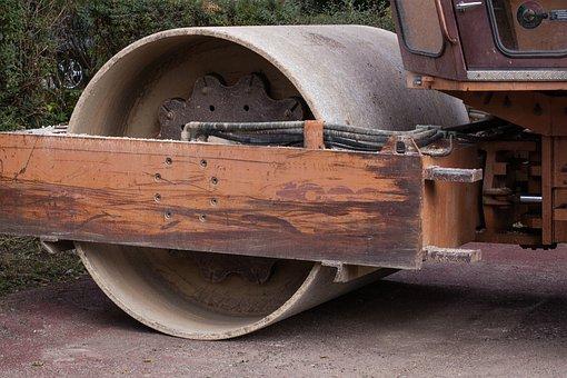 Site, Steam Roller, Roll, Construction Work