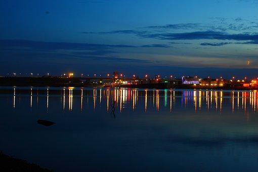 Hes, Reservoir, Kama, Evening, Sunset, Reflection