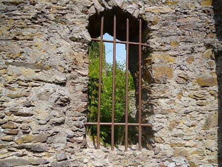 Window, Bars, Wall, Stone, Masonry, Exterior, Castle