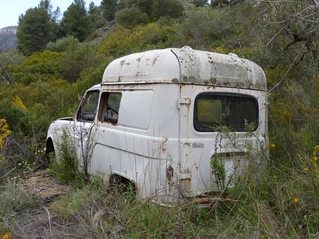 Car, Abandoned, Old, Renault F4, Abandoned Car