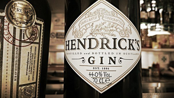Hendrick's, Gin, Label, Bottle, Alcohool, Bar
