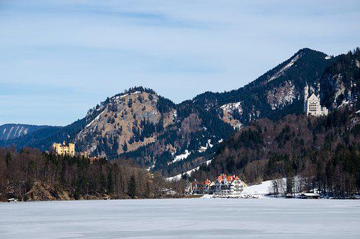 Germany, Bavaria, Schwangau, Idyllic, Winter, Allgäu