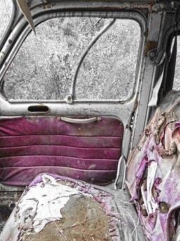 Antique Car, Abandoned, Inside, Upholstered, Tousled