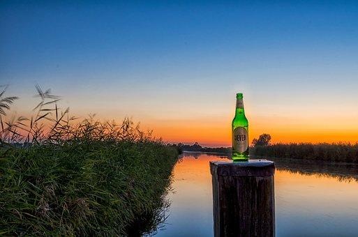 Ems-jade Canal, Jever, Pils, Beer, Sunset, River, Drink