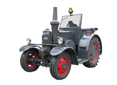Tractor, Bulldog, Lanz, Oldtimer, Isolated