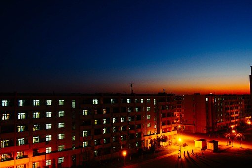 Campus, Night View, The Dormitory Building