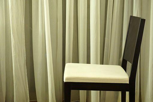 Chair, Curtain, Minimal, Monotone, Interior, Modern