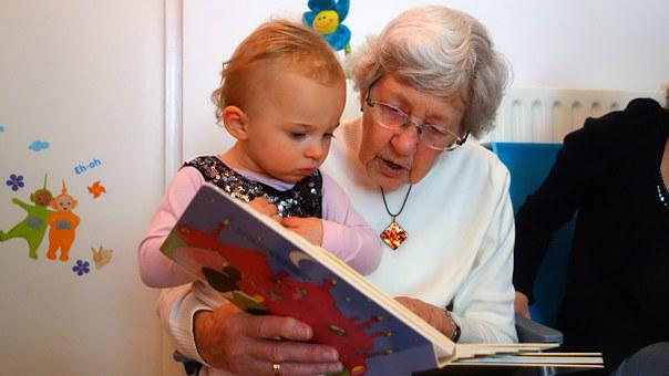 For Reading, Grandmother, Grandchild, Child, Book, Read