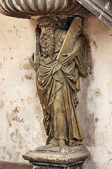 Moses Statue, Christian, Closed Church Prettin