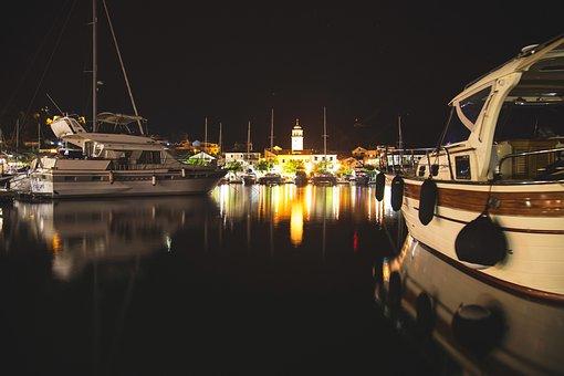 Skradin, Port, Marina, Night, Croatia, Adriatic, Sea