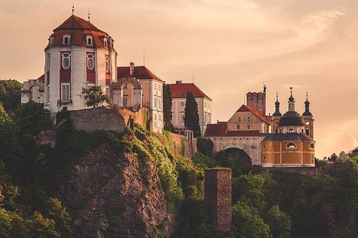 Castle, Mountain, Sunset, Dome, Czech Republic