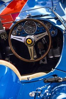 Steering Wheel, Ferrari, Blue, Car, Vehicle