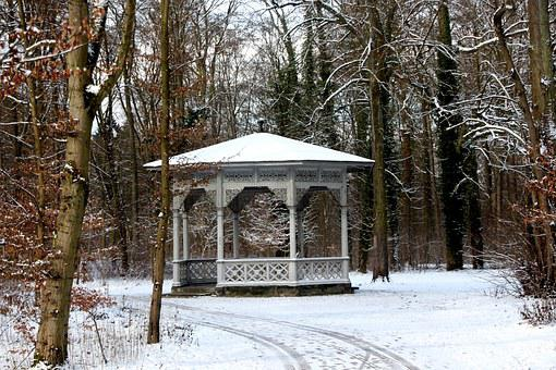 Pavillion, Grove, Bamberg, Fprest, Winter, Landscape