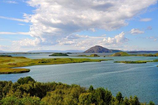 Iceland, Höfði, Wide, Horizon, Lake Mývatn