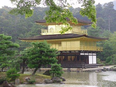 Japan, Kioto, Kinkaku-ji, Pavilion, Gold, Temple, Rain