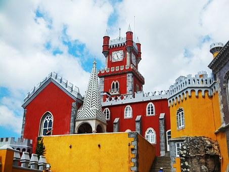 Castle, Lisbon, Sintra, Palace, Red, Yellow, Mountain