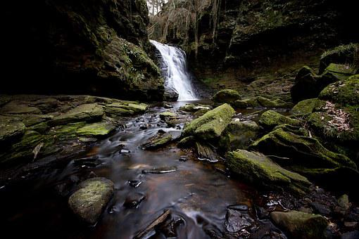 Waterfall, Hareshaw Linn, Northumberland, Uk, Water