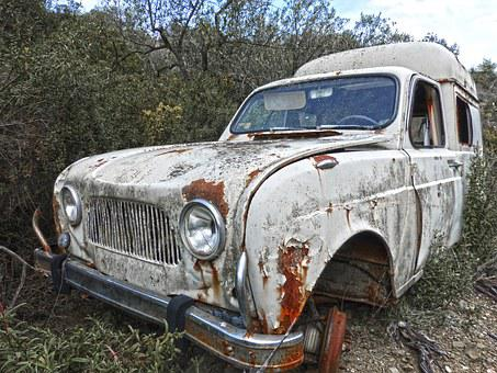 Old Car, Abandoned, Renault F4, Rusty, Weed
