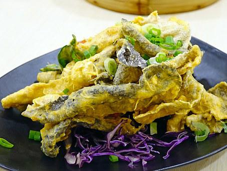 Salted Egg Fish Skin, 咸蛋炸鱼皮, Deep Fried, Seafood