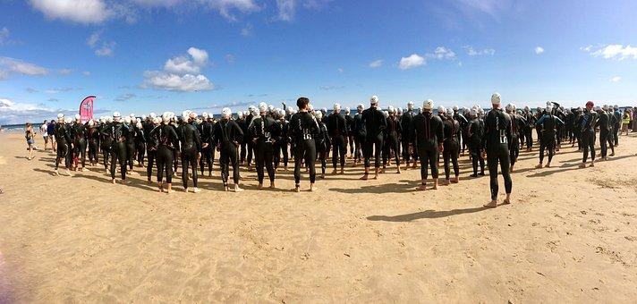 Triathlon, Ironman, Start, Group, People, Swim, Sea