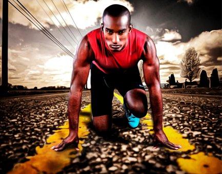Runner, Sports, Power, Man, Start, Road