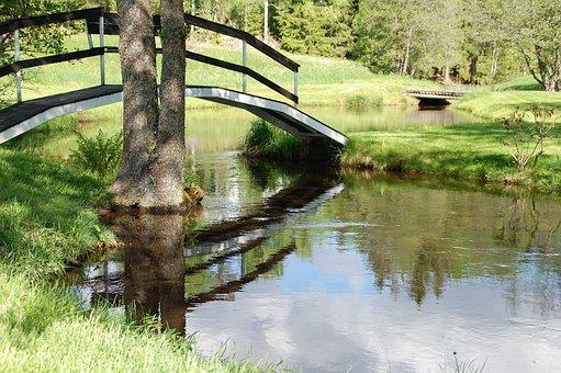 Garden, Brook, Bridge, Nature, Water, Stream, Park