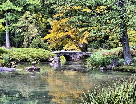 Japanese Garden, Stone Bridge, Pond, Tranquil, Lake