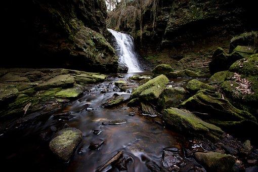 Waterfall, Hareshaw Linn, Northumberland, Uk, Water